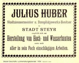 1904 - Inserat Julius Huber