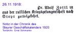 1918-11-26 - Dr.Zottl zurückgekehrt