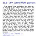 Josefa Mohr gestorben