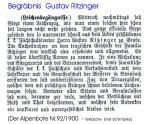 Begräbnis Gustav Ritzinger