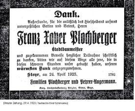 1923.Plochberger.Dank