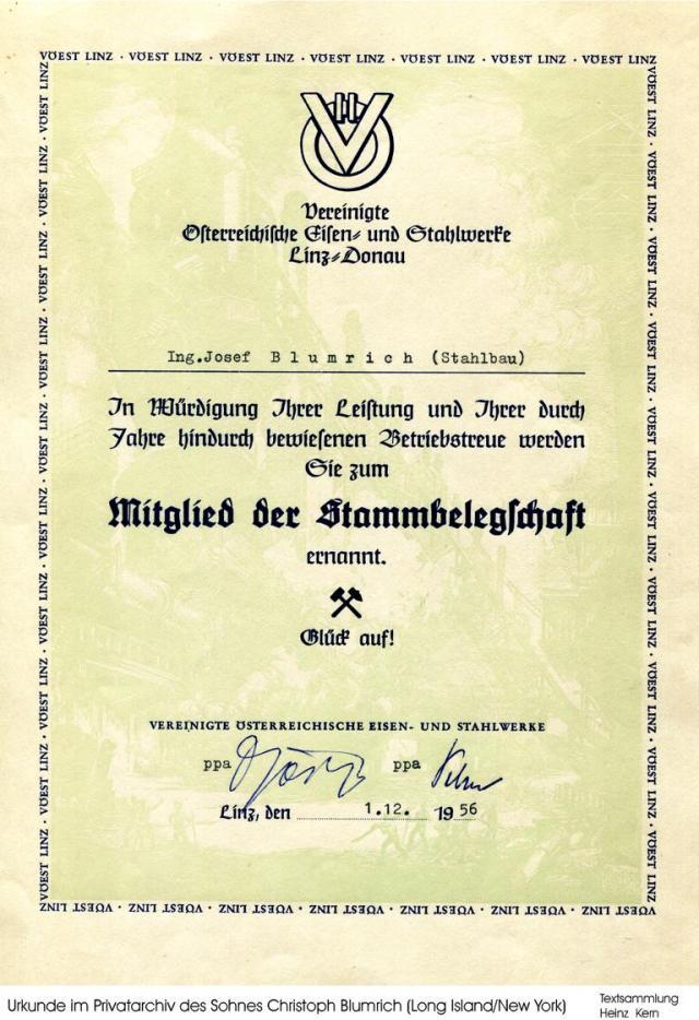 1956-12-01 - Blumrich Josef F. VÖEST-Urkunde.