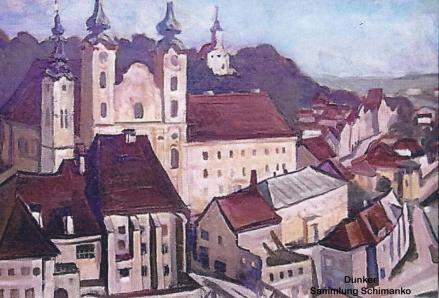 Aquarell Steyrdorf von Ludwig Dunker um 1945. Die Bombenschäden am Möstlhaus sind noch sichtbar