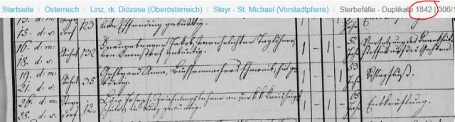 1842 Sterbebuch St.Michael Steyr Tod Loew