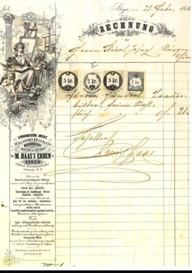 M.Haas Erben Rechnung 1874