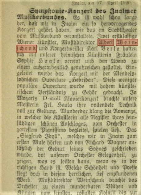 1920 April 28 Znaimer Tagblatt Konzert weinschenk