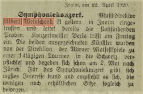 1920 Znaimer Tagblatt April 23 Weinschenk neu