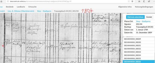 1804 Trauungsbuch Joseph greis