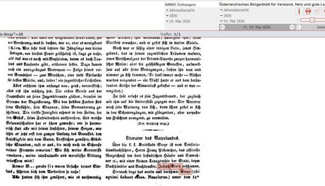 1826 Bürgerblatt Greis druckt Pillewitzer Topografie