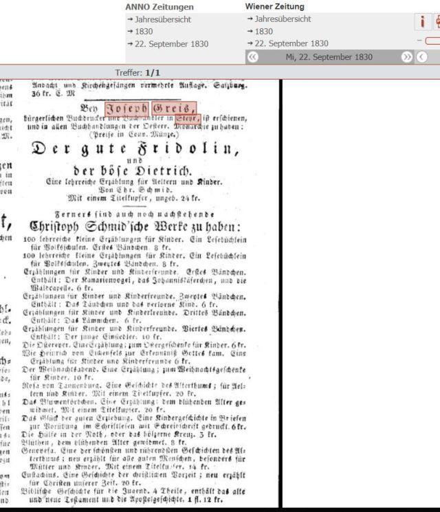 1830 wiener Zeitung erschienene Werke bei Greis