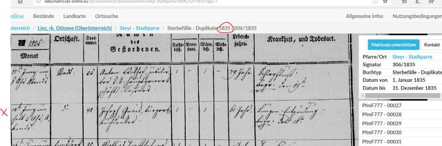1835 Totenbuch Joseph Greis