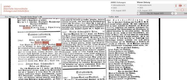 1835 Wiener zeitung gesamtausschnitt