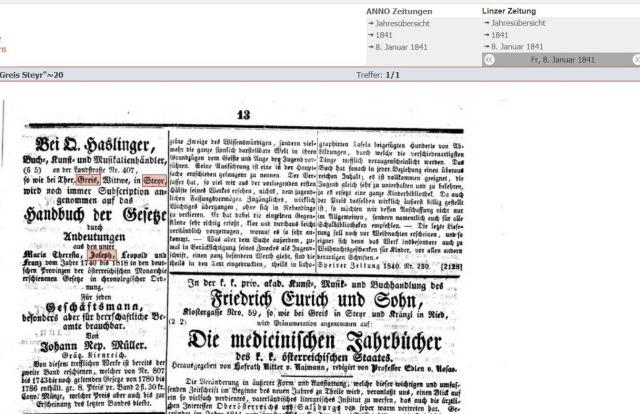 1841 Linzer zeitung Witwe Ther Greis