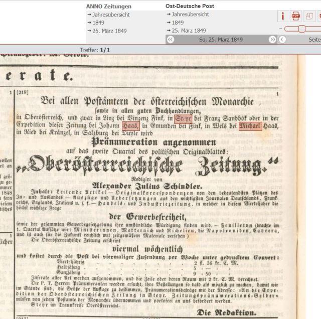 1849 ostdeutsche Zeitung Michael Johann Haas