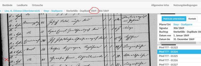 1869 Totenbuch Theresia Greis Witwe