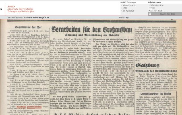 1938 Lohnerhöhung Färberei Keller
